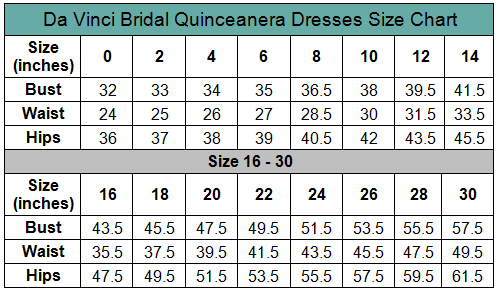 DaVinci Q Size Chart