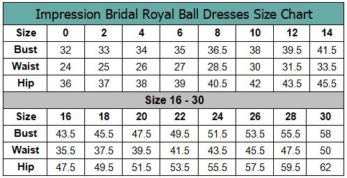 Disney Royal Ball Size Chart