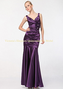5098 Satin Bridesmaid Dress - Eggplant, Front View