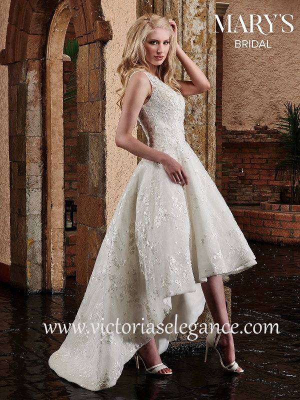 High-Low Embroidered Wedding Dress MB3028 – Victoria\'s Elegance ...