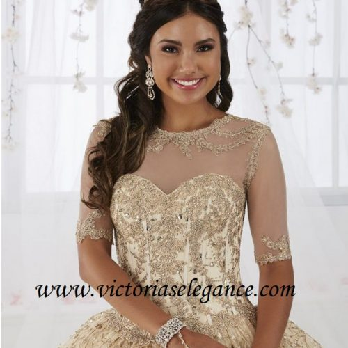 3/4 Sleeve Underlay, Ball Gown, Prom Gala Pageant, Quinceanera Ball Gown, Sweet 16, House of Wu