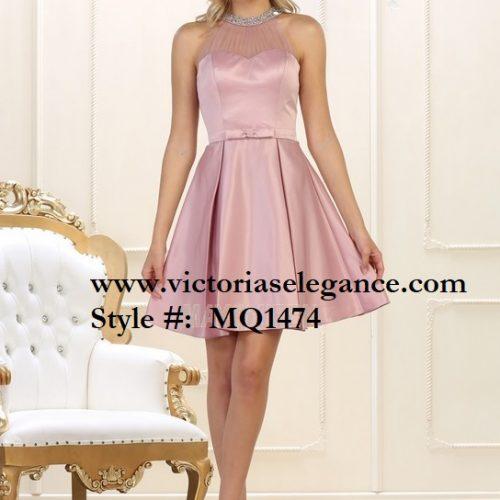 Short High Neck Satin Dress, bridesmaid, quinceanera, bridal