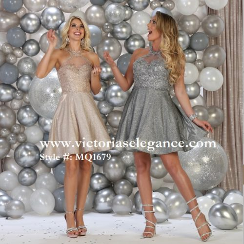 Short Shimmery High Neck Dress, bridesmaid dress, dama's dress, prom gala pageant, sweet 16
