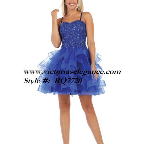 Short blue ruffled tulle dress, bridesmaid dress, dama's dress, prom gala pageant, sweet 16